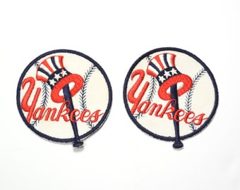 """vintage 60s 70s New York Yankees patch MLB baseball 1950 1960 large 4"""" round sew on patch NY Yankees top hat logo patch"""