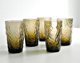 Vintage Anchor Hocking Milano Lido Tumblers, Mid Century Smokey Brown Crinkle Glass Tumblers, 1960s Juice Glasses Set.
