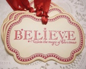 Christmas Gift Tags / Holiday Tags / Set of 4 / Believe in the Magic of Christmas / Vintage / Stickers