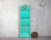 Wood wall letter holder, distressed,  wall letter organizer, mail holder, turquoise, embellished, upcycled