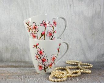 Unique Coffee mugs, set of 2 cherry blossoms coffee mugs, cute coffee mugs, hand painted with original art, coffee cups