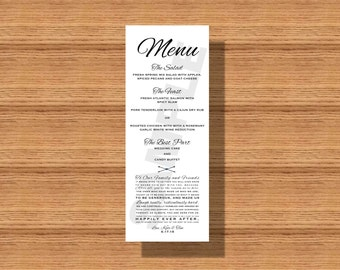 Wedding Menu, Wedding Dinner Menu, Printable Wedding Menu, Elegant Wedding Menu, Simple Wedding Menu with Thank You Note, Wedding Thank You