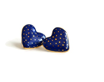 Navy and gold polka dots - stud earrings - blue heart ceramic stud post earrings - Jasmin Blanc jewelry