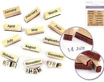 Forever in Time Calendar Set Wooden Rubber Stamp
