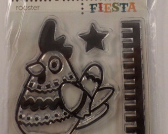 Clear Stamps Fiesta Rooster Cling Rubber Stamp Set #Cwr-41804
