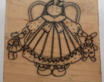 Artistic Stamp Exchange Angel With Rag Dolls Finders Keepers Wooden Rubber Stamp
