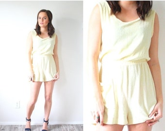 20% OFF BIRTHDAY SALE Vintage Boho summer yellow romper // swim cover up mini dress // terry cloth romper // mini summer dress // vacation d