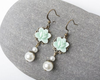 Mint rose earrings, Mint bridesmaid earrings, vintage style earrings, mint and ivory pearl, shabby chic earrings, mint wedding jewelry