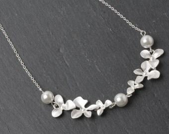 Bridesmaid  Necklace, Bridesmaid Gift, orchid necklace, White Wedding Jewelry, Bridesmaid Necklace, Bridal necklace, silver necklace