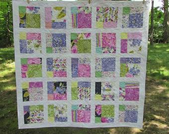 Romantic Pastel  Lap Quilt/ Baby Quilt 42 x42 inches