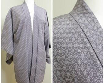 Japanese Haori Jacket. Vintage Silk Coat Worn Over Kimono. Purple Lilac Geometric Dots (Ref: 1204)