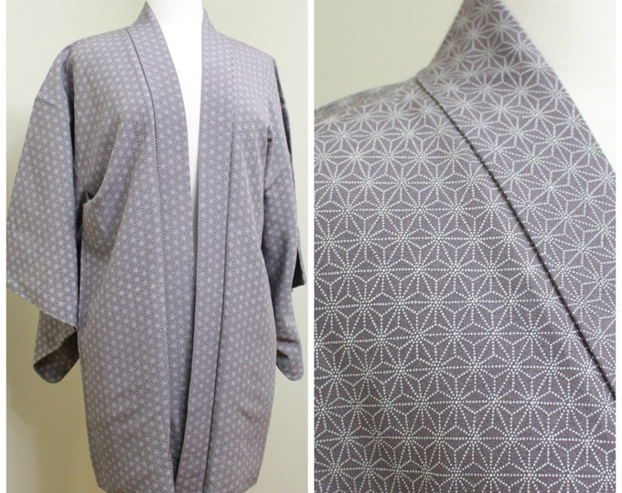 Japanese Haori Jacket. Vintage Silk Coat Worn Over Kimono. Purple Lilac Geometric Dots (Ref: 1204)