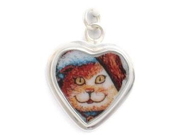 Broken China Jewelry Kitty Cat Charm 10