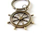 Large Ship Wheel - Antiqued Brass Vintage Style Key Ring - C0060