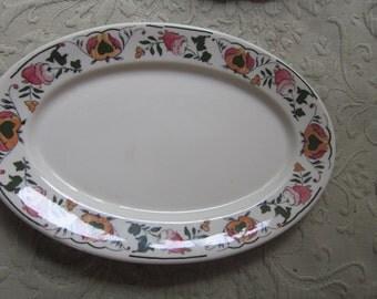 syracuse china platter,,colorful pattern, serving platter