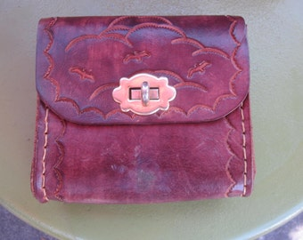 tooled leather belt wallet. all leather