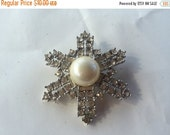 MOVING SALE Half Off Vintage Silver Tone Metal Pearl and Rhinestone  Star Flower Brooch Perfect for Bridal Assemblage