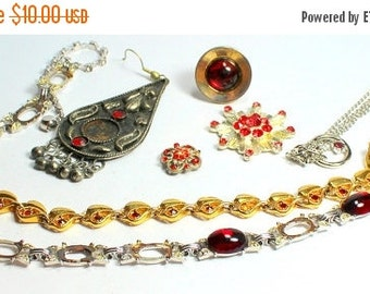 MOVING SALE Half Off Destash Craft lot of Vintage and Salvaged Red Rhinestone Jewelry Parts and Pieces