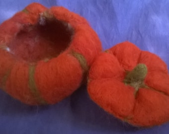 Needle Felted Pumpkin Container