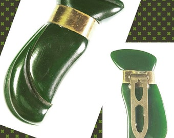 Lovely Green Celluloid/Bakelite? with Brass Detail Dress Clip
