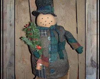 Sale Tall Primitive folk art standing hand embroidered snowman patchwork wool coat birdhouse HAFAIR OFG faap AFTERXMASFAAP