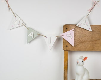 Wooden name bunting - Personalized name bunting -Christening gift -New baby present - wooden bunting - children's name bunting - baby girl