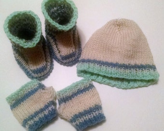 Baby Set, Baby Beanie, Baby Booties, Baby fingerless mitts