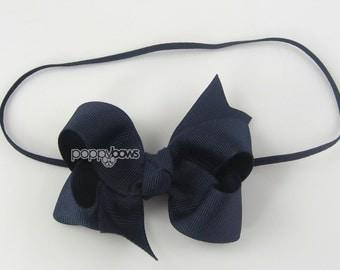 "Baby Headband, navy blue headband, toddler headband, 3"" 3 inch bow headband, newborn headband, infant headband, skinny band girls headband"