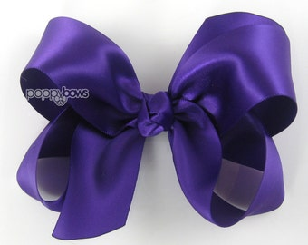 "Girls Hair Bow - 4 Inch Satin Hair Bow - Dark Purple hair bow - toddler hair bow - baby girls hairbow - big hair bow 4"" boutique bows silk"