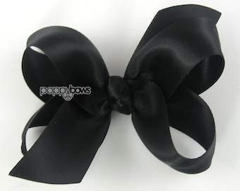 Black Satin Hair Bow - Hairbows for Baby Toddler Girl -  3 Inch Boutique Hairbow on Alligator Clip Barrette