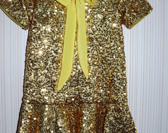 Sequined tie neck gold dress for girl, size 5-6, ready to ship