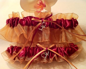 Maple Leaf Burgundy and Gold Wedding Bridal Garter or Set -  Autumn Fall Wedding - Plus Size and Other Charms Available - Prom Garter