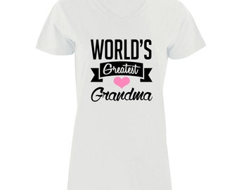 World's Greatest Grandma Women V-Neck Shirt