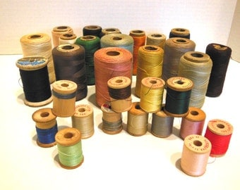 vintage sewing thread, mixed thread supply, wooden spools, sewing room decor, instant collection