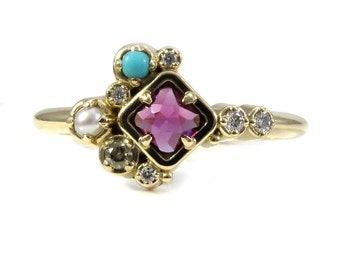 Rhodolite Garnet, Turquoise and Pearl Cluster Ring with Champagne and White Diamonds - 14k Yellow Gold