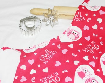 Owl Be Yours Valentines Day Youth Size Apron
