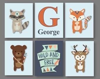 Woodland Nursery Art - Woodland Animal Art - Woodland Nursery Decor - Forest Animals Nursery - Animal Wall Art - PRINTS ONLY