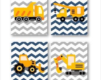Construction Nursery Decor // Construction Wall Art // Construction Trucks Art Prints // Art for Boys Room // Four PRINTS ONLY