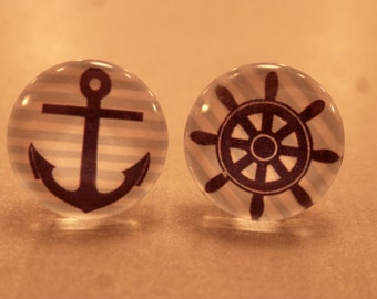 Nautical Studs:Anchor and Ship Wheel Cabochon Earrings, Fake Plugs, Nautical Jewelry, Anchor Studs, Anchor Earrings, Anchor Plugs, Mix Match