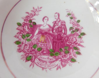 Antique Russian Prince of Prussia and Princess Royal Pink and Green  Bowl Saucer