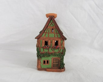 "Hand Made Handarbeit German Pottery Cottage Candle Clay House 6"" High  Box M"