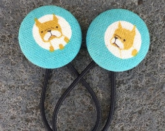 Friendly Frenchies!! Gorgeous Japanese Linen Covered Button Hair Ties - set of two Ponytail holders  Blue White Brown Aqua French Bulldog