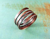 Wire Wrapped Ring Copper Ring Adjustable Ring Size 8.5 Wire Wrapped Jewelry Copper Jewelry Copper Wire Wrap Coil Ring Custom Ring