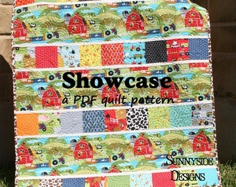 Quick Quilt Pattern, PDF File Moda Charm Pack, Riley Blake Stacker Showcase Focal Print, Beginner Quilter, Intermediate Quick Easy Baby