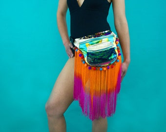 BEYONCE Leather, fringing, pompom, bumbag, fannypack. Bananas sequins rainbow carnival burningman