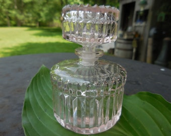 Vintage 1950s to 1970s  Light Pink Glass Perfume Bottle with Ground Stopper Round Pressed Glass Vanity Bureau/Dresser