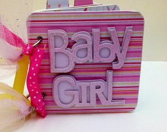 Baby Girl Brag Book Premade pages chipboard Mini Scrapbook Album- Baby Shower- Sweet Pea Owls