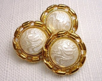 """Bright Elegance: 7/8"""" Faux Gold Metal Buttons - Set of 3 Matching Buttons"""
