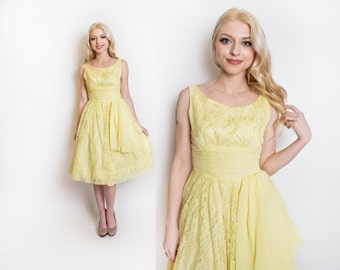 Vintage 1950s Dress - Yellow Lace Full Skirt Party Prom Sleeveless 50s - Extra Small