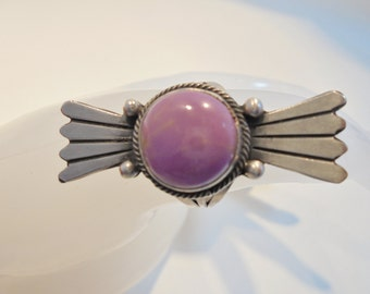 Vintage RB Sterling Silver Ring Signed *8.9 Grams* Running Bear Pink Rhodonite Large Chunky Statement Boho Native